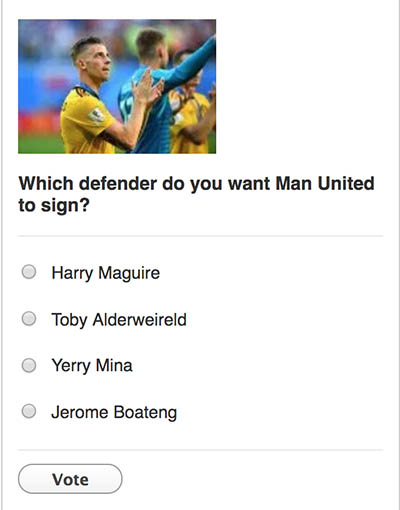 Which defender do you want Man United to sign? Maguire, Mina, Alderweireld or Boateng? Place your vote!